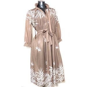 0ebfe3cd33e Vintage Dress 1960s( ) Leaf Beige Summer Outfit